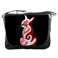 Red Abstract Cat Messenger Bags by Valentinaart