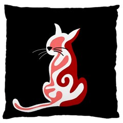Red Abstract Cat Standard Flano Cushion Case (two Sides) by Valentinaart