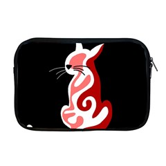 Red Abstract Cat Apple Macbook Pro 17  Zipper Case by Valentinaart
