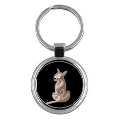 Brown Abstract Cat Key Chains (round)  by Valentinaart