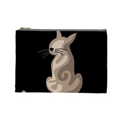 Brown Abstract Cat Cosmetic Bag (large)  by Valentinaart