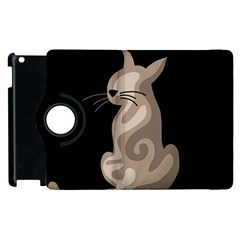 Brown Abstract Cat Apple Ipad 2 Flip 360 Case by Valentinaart