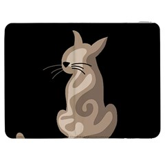 Brown Abstract Cat Samsung Galaxy Tab 7  P1000 Flip Case by Valentinaart