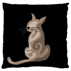 Brown Abstract Cat Standard Flano Cushion Case (one Side) by Valentinaart