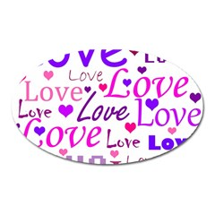 Love Pattern Oval Magnet by Valentinaart