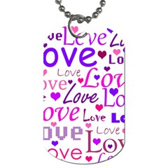 Love Pattern Dog Tag (one Side) by Valentinaart