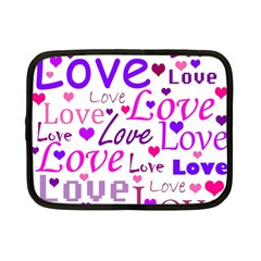 Love Pattern Netbook Case (small)  by Valentinaart