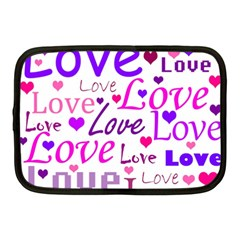 Love Pattern Netbook Case (medium)  by Valentinaart