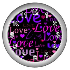 Love Pattern 2 Wall Clocks (silver)  by Valentinaart