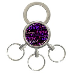 Love Pattern 2 3 Ring Key Chains by Valentinaart