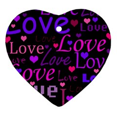 Love Pattern 2 Heart Ornament (2 Sides) by Valentinaart