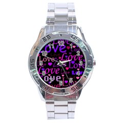 Love Pattern 2 Stainless Steel Analogue Watch by Valentinaart