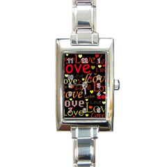 Love Pattern 3 Rectangle Italian Charm Watch by Valentinaart
