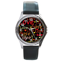 Love Pattern 3 Round Metal Watch by Valentinaart