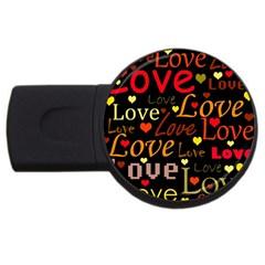 Love Pattern 3 Usb Flash Drive Round (4 Gb)  by Valentinaart