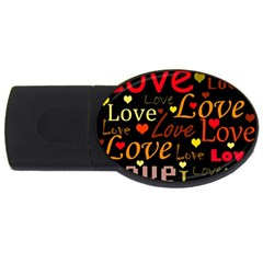 Love Pattern 3 Usb Flash Drive Oval (4 Gb)  by Valentinaart
