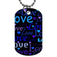 Blue Love Pattern Dog Tag (two Sides) by Valentinaart