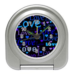 Blue Love Pattern Travel Alarm Clocks by Valentinaart