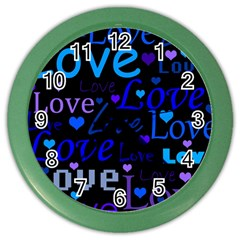 Blue Love Pattern Color Wall Clocks by Valentinaart