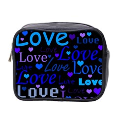 Blue Love Pattern Mini Toiletries Bag 2 Side by Valentinaart