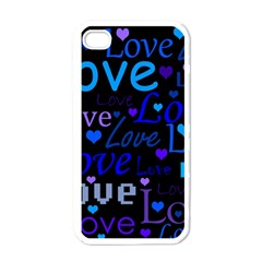 Blue Love Pattern Apple Iphone 4 Case (white) by Valentinaart