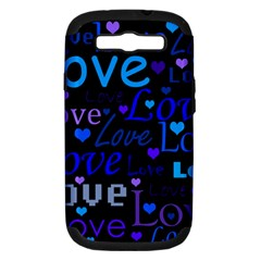 Blue Love Pattern Samsung Galaxy S Iii Hardshell Case (pc+silicone) by Valentinaart