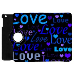 Blue Love Pattern Apple Ipad Mini Flip 360 Case by Valentinaart