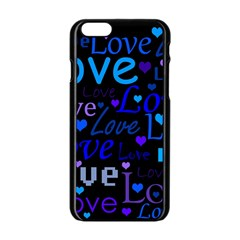 Blue Love Pattern Apple Iphone 6/6s Black Enamel Case by Valentinaart