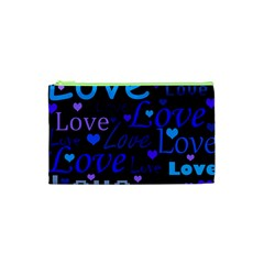 Blue Love Pattern Cosmetic Bag (xs) by Valentinaart