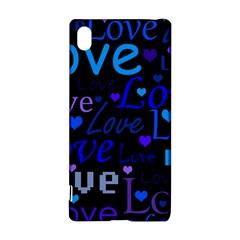 Blue Love Pattern Sony Xperia Z3+ by Valentinaart