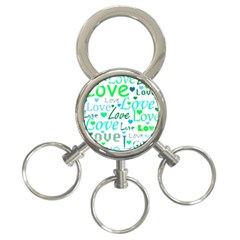 Love Pattern   Green And Blue 3 Ring Key Chains by Valentinaart
