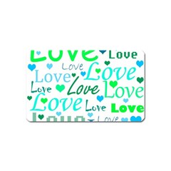 Love Pattern   Green And Blue Magnet (name Card) by Valentinaart