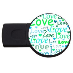 Love Pattern   Green And Blue Usb Flash Drive Round (2 Gb)  by Valentinaart