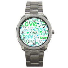 Love Pattern   Green And Blue Sport Metal Watch by Valentinaart