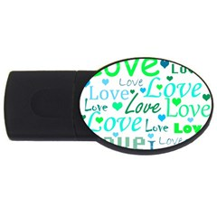 Love Pattern   Green And Blue Usb Flash Drive Oval (4 Gb)  by Valentinaart