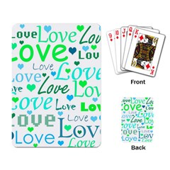 Love Pattern   Green And Blue Playing Card by Valentinaart