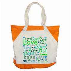 Love Pattern   Green And Blue Accent Tote Bag by Valentinaart