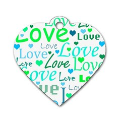 Love Pattern   Green And Blue Dog Tag Heart (one Side) by Valentinaart