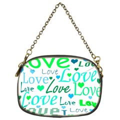 Love Pattern   Green And Blue Chain Purses (one Side)  by Valentinaart