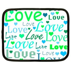 Love Pattern   Green And Blue Netbook Case (xxl)