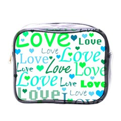 Love Pattern   Green And Blue Mini Toiletries Bags by Valentinaart