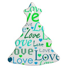 Love Pattern   Green And Blue Christmas Tree Ornament (2 Sides) by Valentinaart