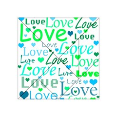 Love Pattern   Green And Blue Acrylic Tangram Puzzle (4  X 4 ) by Valentinaart