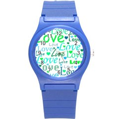 Love Pattern   Green And Blue Round Plastic Sport Watch (s) by Valentinaart