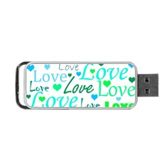 Love Pattern   Green And Blue Portable Usb Flash (two Sides) by Valentinaart