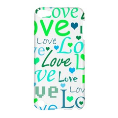 Love Pattern   Green And Blue Apple Ipod Touch 5 Hardshell Case by Valentinaart