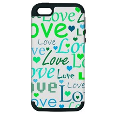 Love Pattern   Green And Blue Apple Iphone 5 Hardshell Case (pc+silicone) by Valentinaart