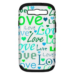 Love Pattern   Green And Blue Samsung Galaxy S Iii Hardshell Case (pc+silicone) by Valentinaart