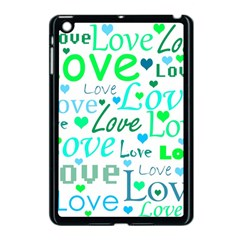 Love Pattern   Green And Blue Apple Ipad Mini Case (black) by Valentinaart