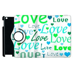 Love Pattern   Green And Blue Apple Ipad 3/4 Flip 360 Case by Valentinaart